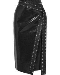 Alexander McQueen - Studded Snake-effect Leather Wrap Midi Skirt - Lyst