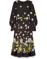 397a8770a24e Lyst - Balenciaga Floral-print Silk-jacquard Maxi Dress in Black