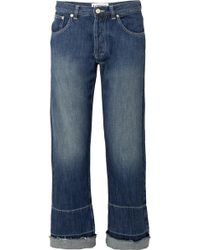 Loewe - Embroidered Mid-rise Wide-leg Jeans - Lyst
