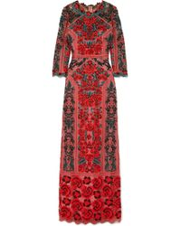 Marchesa notte - Embroidered Guipure Lace And Tulle Gown - Lyst
