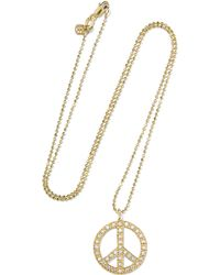 Sydney Evan - Peace Sign Large 14-karat Gold Diamond Necklace - Lyst