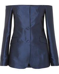Gabriela Hearst - Dorothea Off-the-shoulder Silk And Wool-blend Blazer - Lyst