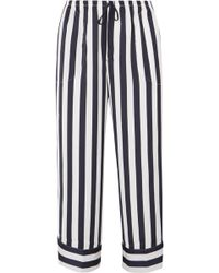 DKNY - Walk The Line Cropped Striped Satin Pajama Pants - Lyst