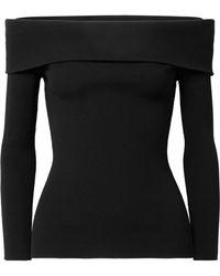 Michael Kors - Off-the-shoulder Ribbed-knit Jumper - Lyst