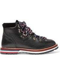 Moncler - Blanche Velvet-trimmed Leather Ankle Boots - Lyst