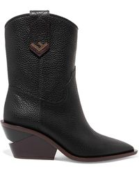 Fendi - Textured-leather Boots - Lyst