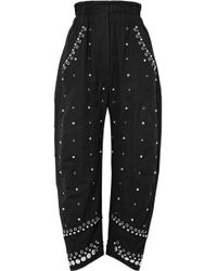 Isabel Marant - Eloma Embellished Cotton-canvas Tapered Trousers - Lyst