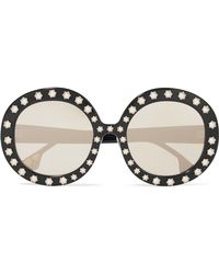 Alice + Olivia - Doheny Swarovski Pearl-embellished Round-frame Acetate Sunglasses - Lyst