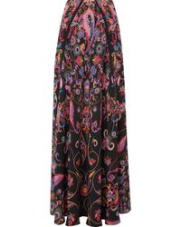 Etro - Printed Silk-crepe Maxi Skirt - Lyst