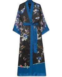 Meng - Printed Silk-satin Robe - Lyst