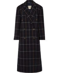 Awake - Double Breasted Check Coat - Lyst