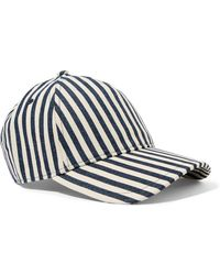 Rag & Bone - Marilyn Leather-trimmed Striped Denim Baseball Cap - Lyst