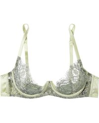 Coco De Mer - Flora Lace And Stretch-satin Underwired Balconette Bra - Lyst