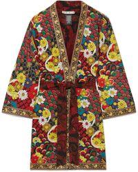 Alice + Olivia - Lynn Jacquard-trimmed Printed Crepe De Chine Kimono - Lyst