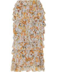 Zimmermann | Tiered Printed Silk-georgette Midi Skirt | Lyst