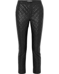 FRAME - Cropped Quilted Leather Straight-leg Trousers - Lyst