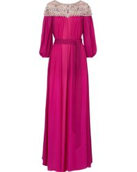 Marchesa - Embellished Silk-georgette And Tulle Gown - Lyst