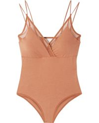 Skin - Orchid Tulle-trimmed Stretch Organic Pima Cotton-jersey Bodysuit - Lyst