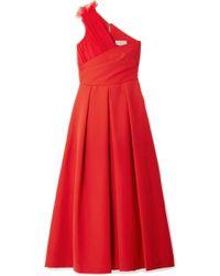 Preen By Thornton Bregazzi - One-shoulder Tulle-trimmed Stretch-cady Midi Dress - Lyst
