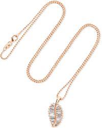 Anita Ko - Palm Leaf 18-karat Rose Gold Diamond Necklace - Lyst