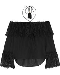 Rachel Zoe - Cali Off-the-shoulder Lace And Silk-chiffon Top - Lyst
