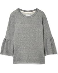 Current/Elliott - The Ruffle Cotton-blend Terry Sweatshirt - Lyst