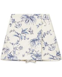 RED Valentino - Wrap-effect Printed Cotton-canvas Shorts - Lyst