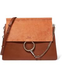 09d9d54895 Lyst - Chloé Faye Medium Leather And Suede Shoulder Bag in Brown