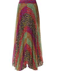 Alice + Olivia - Katz Pleated Printed Georgette Maxi Skirt - Lyst