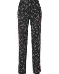 Equipment - Florence Striped Printed Silk-satin Straight-leg Trousers - Lyst