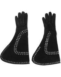 Alexander McQueen - Eyelet-embellished Suede Gloves - Lyst