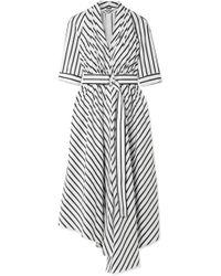 Adam Lippes - Asymmetric Pleated Striped Cotton-poplin Midi Dress - Lyst
