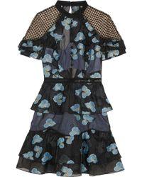 Self-Portrait - Guipure Lace-paneled Fil Coupé Organza Mini Dress - Lyst