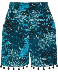 Matthew Williamson - Pompom-embellished Printed Silk Crepe De Chine Shorts - Lyst