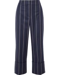 Oscar de la Renta - Cropped Striped Wool-blend Wide-leg Pants - Lyst