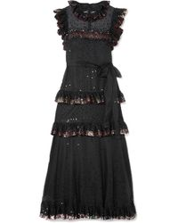 Valentino - Ruffled Tiered Sequin-embellished Tulle Gown - Lyst