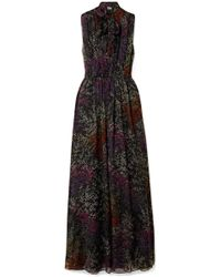 Co. - Pussy-bow Floral-print Silk-chiffon Maxi Dress - Lyst