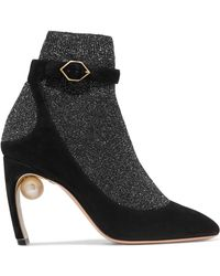 Nicholas Kirkwood | Lola Embellished Metallic Stretch-knit And Suede Sock Boots | Lyst