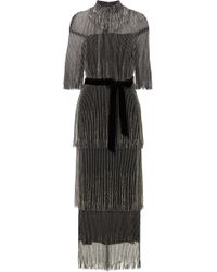 Monique Lhuillier - Tiered Fringed Bead-embellished Tulle Midi Dress - Lyst