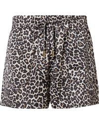 Anine Bing - Ashley Leopard-print Silk-charmeuse Pyjama Shorts - Lyst