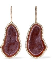 Kimberly Mcdonald - 18-karat Rose Gold, Geode And Diamond Earrings Rose Gold One Size - Lyst