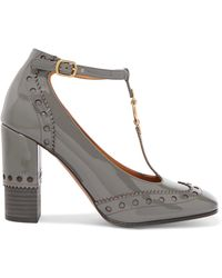 Chloé - Perry Embellished Patent-leather T-bar Pumps - Lyst