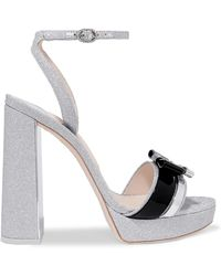 9d7ca1a0870 Sophia Webster - Andie Bow Leather-trimmed Glittered-leather Sandals - Lyst