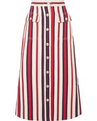 Gucci - Striped Denim Midi Skirt - Lyst