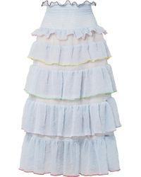 Sandy Liang - Choux Choux Tiered Ruffled Textured-chiffon Midi Skirt - Lyst