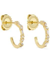 Suzanne Kalan - 18-karat Gold Diamond Hoops Earrings - Lyst