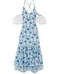 All Things Mochi - Natalia Crochet-trimmed Printed Cotton Midi Dress - Lyst