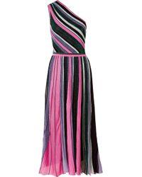 Missoni - One-shoulder Pleated Metallic Stretch-knit Midi Dress - Lyst