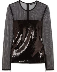 Tom Ford - Sequined Tulle Top - Lyst
