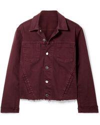 L'Agence - Janelle Cropped Frayed Denim Jacket - Lyst